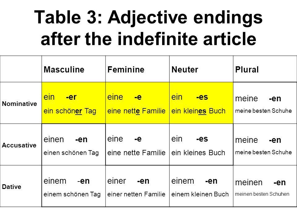 Table 3: Adjective endings after the indefinite article MasculineFeminineNeuterPlural Nominative ein -er ein schöner Tag eine -e eine nette Familie ei