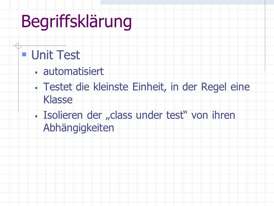 """Begriffsklärung  Unit Test  automatisiert  Testet die kleinste Einheit, in der Regel eine Klasse  Isolieren der """"class under test von ihren Abhängigkeiten"""