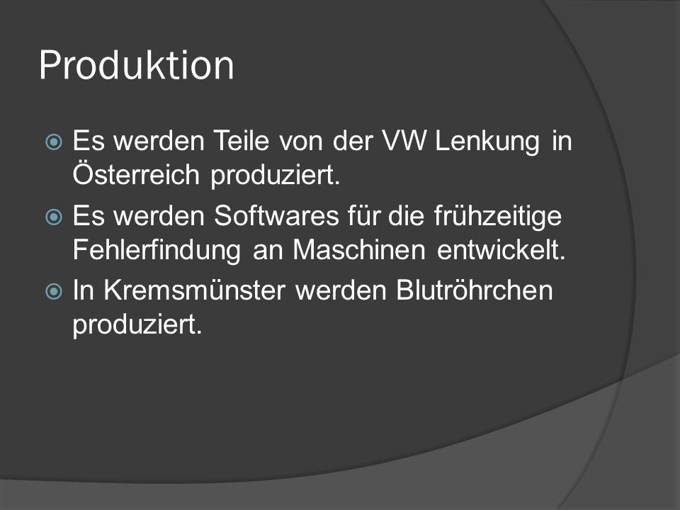 Produktion  Es werden Teile von der VW Lenkung in Österreich produziert.