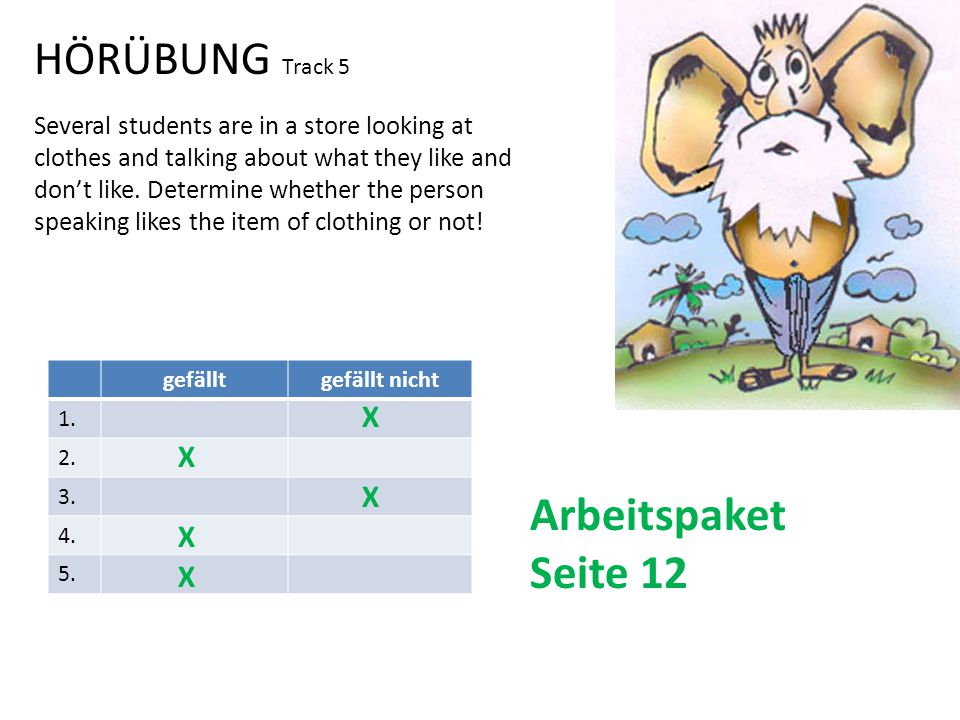 HÖRÜBUNG Track 5 Several students are in a store looking at clothes and talking about what they like and don't like.
