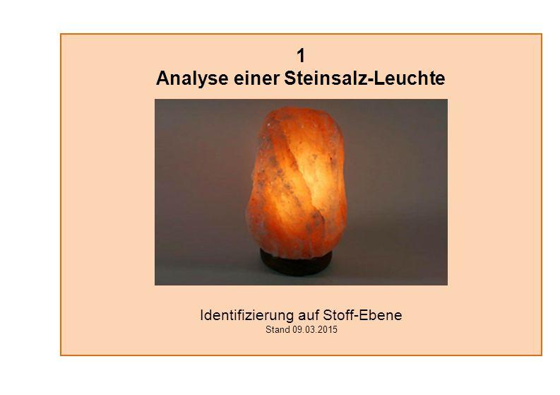 1 Analyse einer Steinsalz-Leuchte Identifizierung auf Stoff-Ebene Stand 09.03.2015