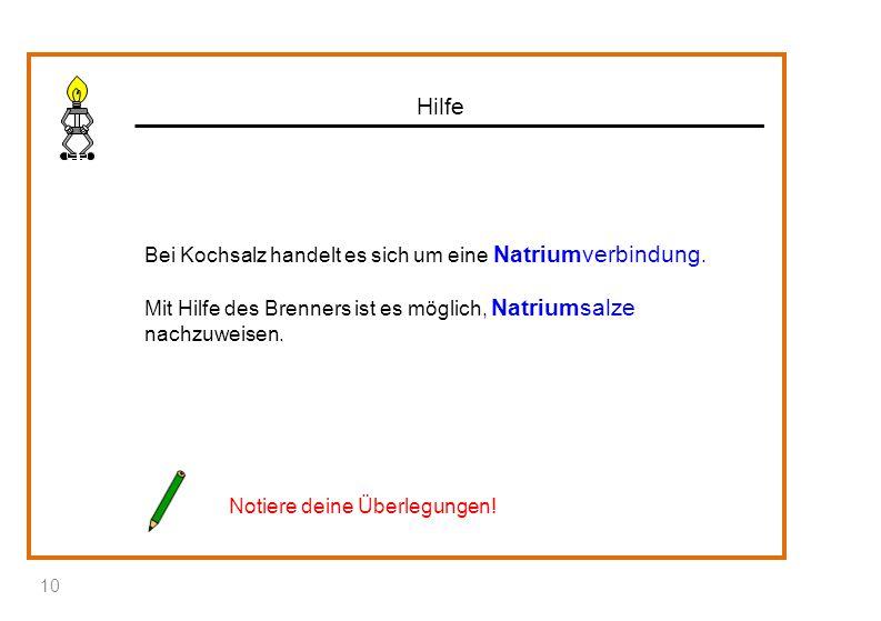 Hilfe Bei Kochsalz handelt es sich um eine Natriumverbindung. Mit Hilfe des Brenners ist es möglich, Natriumsalze nachzuweisen. Notiere deine Überlegu