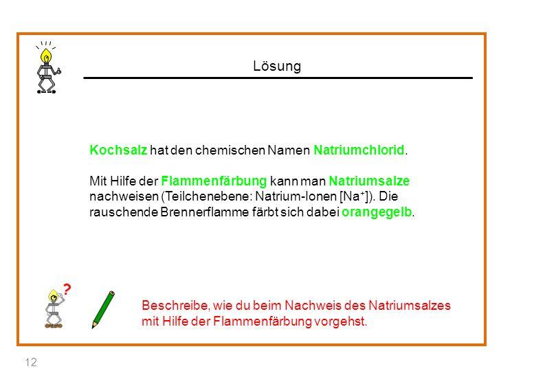 Lösung Kochsalz hat den chemischen Namen Natriumchlorid. Mit Hilfe der Flammenfärbung kann man Natriumsalze nachweisen (Teilchenebene: Natrium-Ionen [