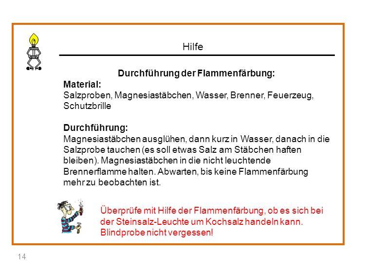 Hilfe Durchführung der Flammenfärbung: Material: Salzproben, Magnesiastäbchen, Wasser, Brenner, Feuerzeug, Schutzbrille Durchführung: Magnesiastäbchen