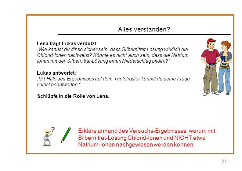 """Alles verstanden? Lena fragt Lukas verdutzt: """"Wie kannst du dir so sicher sein, dass Silbernitrat-Lösung wirklich die Chlorid-Ionen nachweist? Könnte"""
