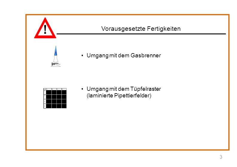 Materialien: Natriumchlorid, Tüpfelraster, Spatel, 2 Tropfpipetten, Schnappdeckelglas, Glasstab, Schutzbrille, Silbernitrat-Lösung, in Tropffläschchen: VE-Wasser, Schwefelsäure, Kaliumnitrat-Lösung, Natriumsulfat-Lösung, Natriumsulfit-Lösung Durchführung: Stelle im Schnappdeckelglas eine Natriumchlorid-Lösung her.