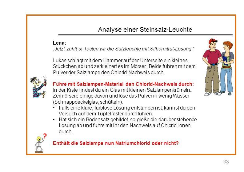 """Analyse einer Steinsalz-Leuchte 33 Lena: """"Jetzt zählt´s! Testen wir die Salzleuchte mit Silbernitrat-Lösung."""" Lukas schlägt mit dem Hammer auf der Unt"""