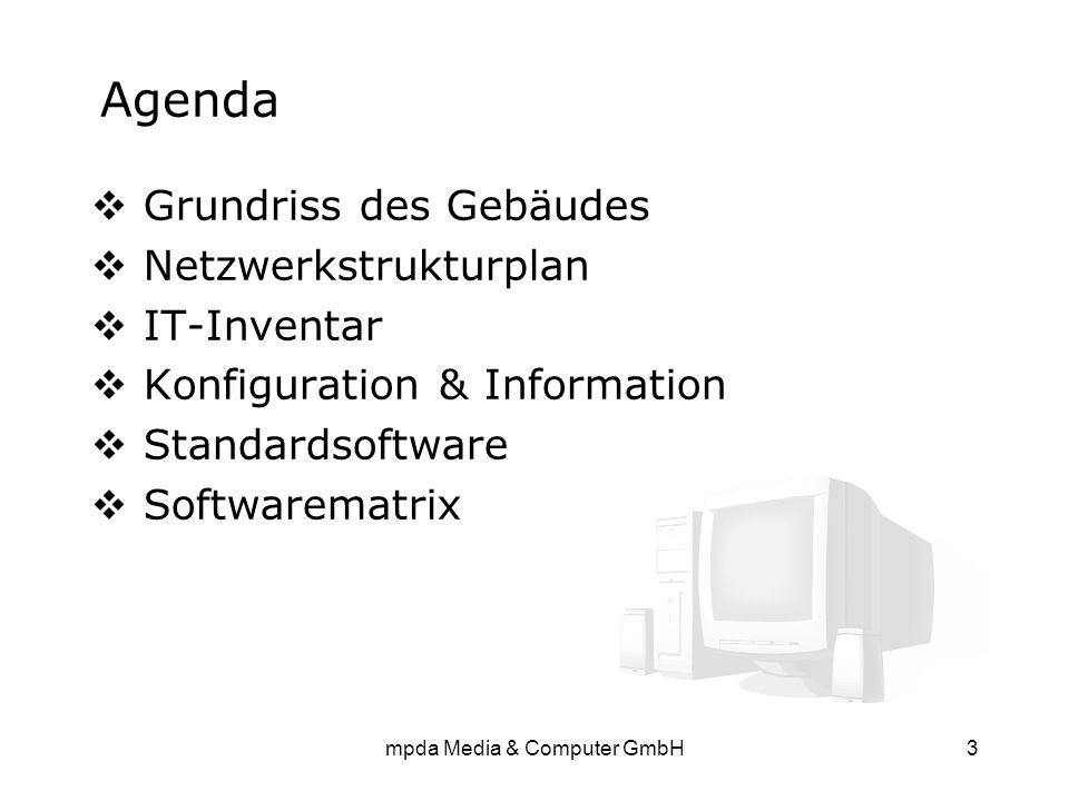 mpda Media & Computer GmbH3 Agenda  Grundriss des Gebäudes  Netzwerkstrukturplan  IT-Inventar  Konfiguration & Information  Standardsoftware  So