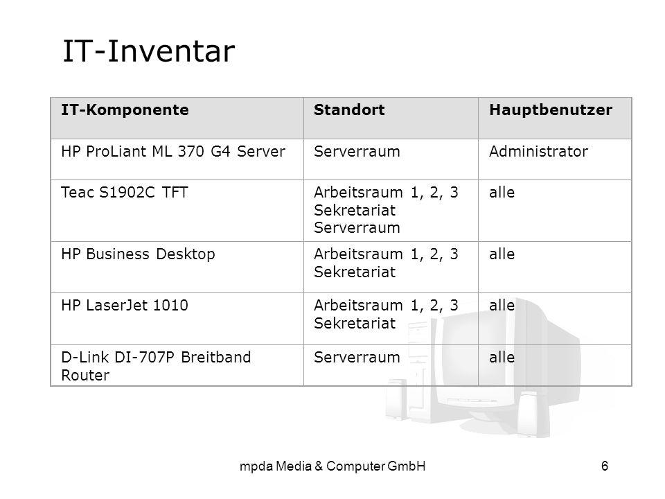 mpda Media & Computer GmbH6 IT-Inventar IT-KomponenteStandortHauptbenutzer HP ProLiant ML 370 G4 ServerServerraumAdministrator Teac S1902C TFTArbeitsr
