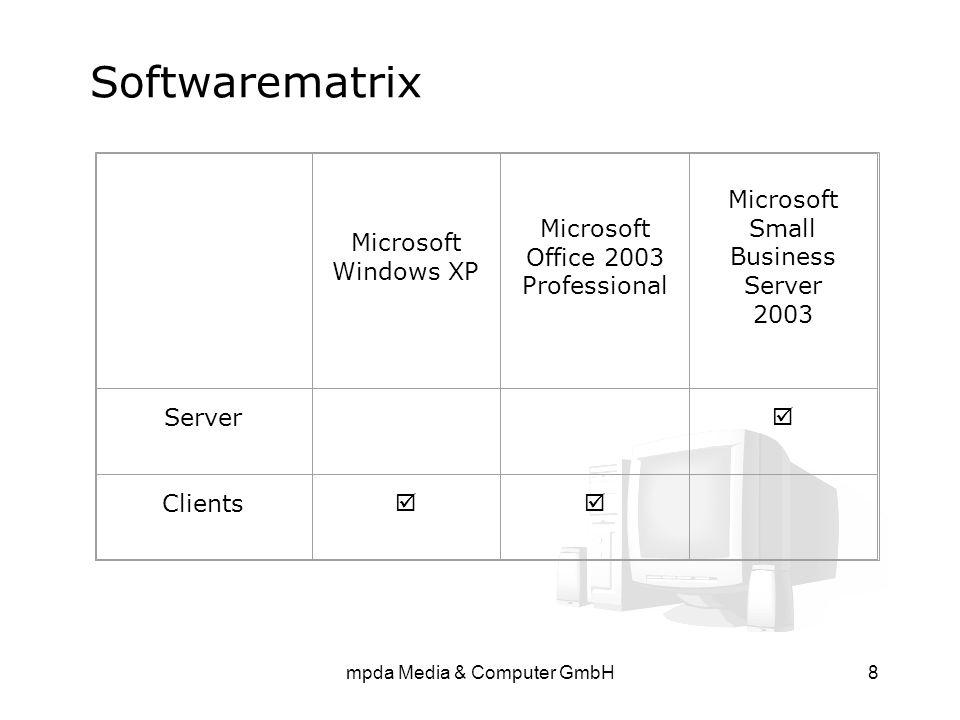 mpda Media & Computer GmbH8 Softwarematrix Microsoft Windows XP Microsoft Office 2003 Professional Microsoft Small Business Server 2003 Server  Clien