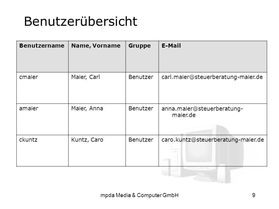 mpda Media & Computer GmbH9 Benutzerübersicht BenutzernameName, VornameGruppeE-Mail cmaierMaier, CarlBenutzercarl.maier@steuerberatung-maier.de amaier