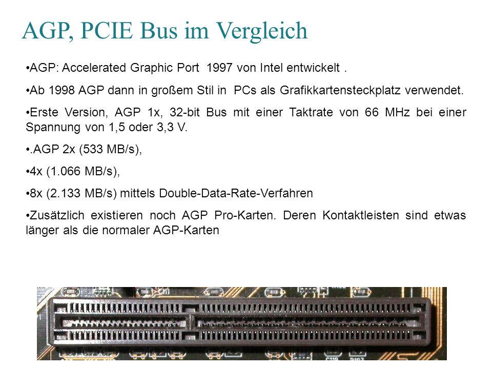 AGP, PCI-E Bus im Vergleich PCI-E: Peripheral Component Interconnect Express, PCIe ist kein paralleler Bus, sondern eine serielle Punkt-zu-Punkt-Verbindung.