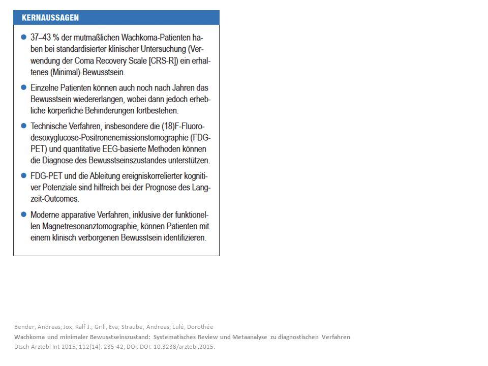 Bender, Andreas; Jox, Ralf J.; Grill, Eva; Straube, Andreas; Lulé, Dorothée Wachkoma und minimaler Bewusstseinszustand: Systematisches Review und Metaanalyse zu diagnostischen Verfahren Dtsch Arztebl Int 2015; 112(14): 235-42; DOI: DOI: 10.3238/arztebl.2015.