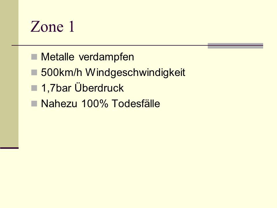 Zone 2 Starke Zerstörung durch Hitze 450km/h Windgeschwindigkeit 1,1bar Überdruck Über 90% Todesfälle Rest: Schwerstverletzte und starke Verbrennungen