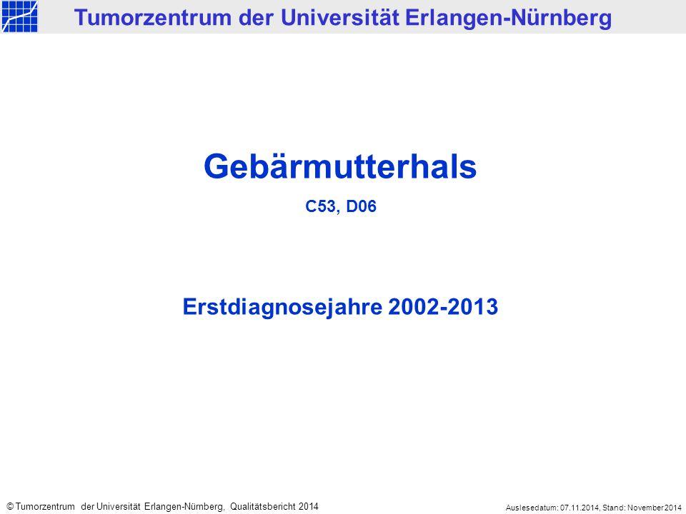 2002-2013 5.732 < 2002 2.330 Mittelfranken 4.065 Nicht Mittelfranken 1.667 Klinisches Krebsregister des Tumorzentrums Erlangen-Nürnberg Tumorentität: Gebärmutterhals, C53, D06 Gesamt: 8.062 (ED 1978 bis 2013) Datenbestand Klinisches Krebsregister: Gebärmutterhals Erstdiagnosejahr: Wohnort: Klinische Meldungen 3.988 Ausschließlich Todesbescheinigungen 77 Meldetyp: Auslesedatum: 07.11.2014, Stand: November 2014 © Tumorzentrum der Universität Erlangen-Nürnberg, Qualitätsbericht 2014
