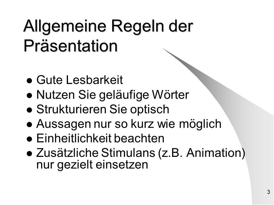 2 Präsentation ? Was/Womit/Wie! Präsentation ist, die Vorstellung erarbeiteter Ergebnisse mit Hilfe von Medien. PowerPoint stellt ein elektronisches M