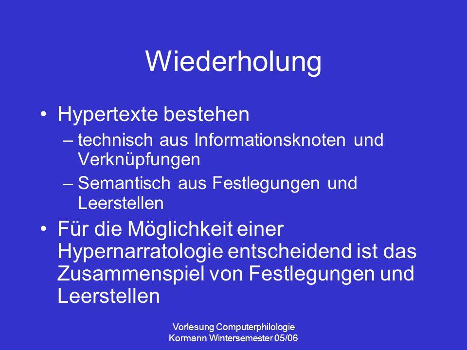 Vorlesung Computerphilologie Kormann Wintersemester 05/06 Wiederholung Hypertexte bestehen –technisch aus Informationsknoten und Verknüpfungen –Semant