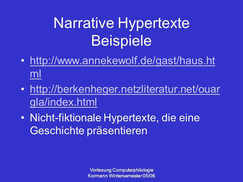 Vorlesung Computerphilologie Kormann Wintersemester 05/06 Narrative Hypertexte Beispiele http://www.annekewolf.de/gast/haus.ht mlhttp://www.annekewolf