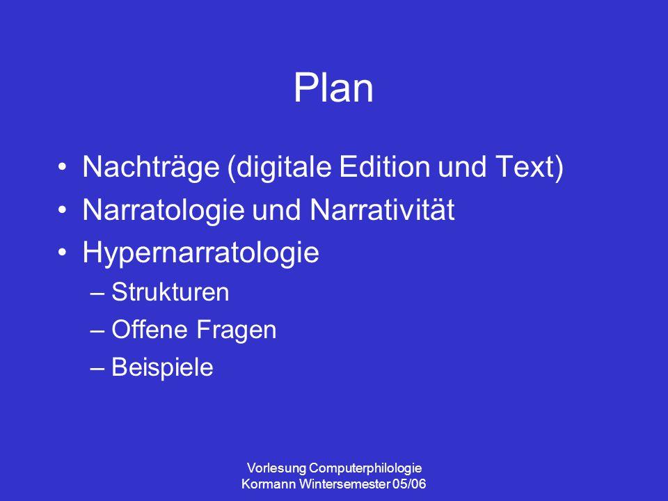 """Vorlesung Computerphilologie Kormann Wintersemester 05/06 Literatur Uwe Wirth: """"Wem der grosse Wurf gelungen ..."""