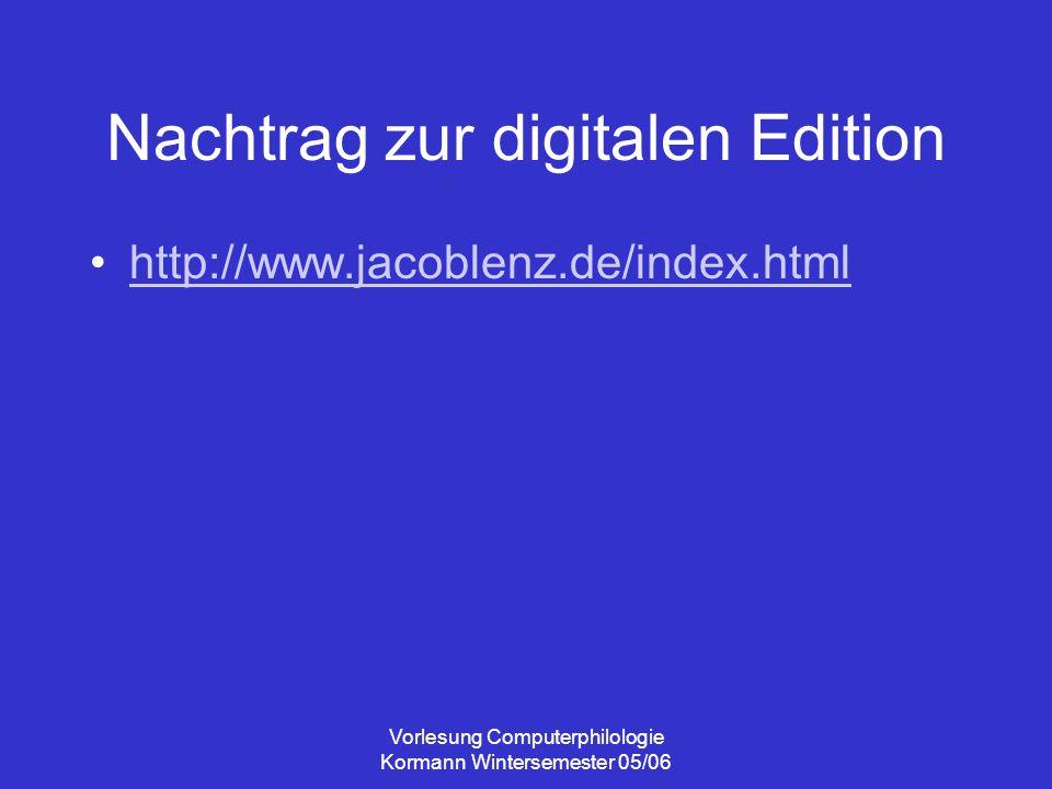 Vorlesung Computerphilologie Kormann Wintersemester 05/06 Narratologie bzw.