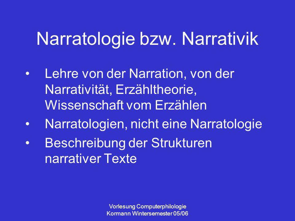 Vorlesung Computerphilologie Kormann Wintersemester 05/06 Narrative Hypertexte Beispiele http://www.annekewolf.de/gast/haus.ht mlhttp://www.annekewolf.de/gast/haus.ht ml http://berkenheger.netzliteratur.net/ouar gla/index.htmlhttp://berkenheger.netzliteratur.net/ouar gla/index.html Nicht-fiktionale Hypertexte, die eine Geschichte präsentieren