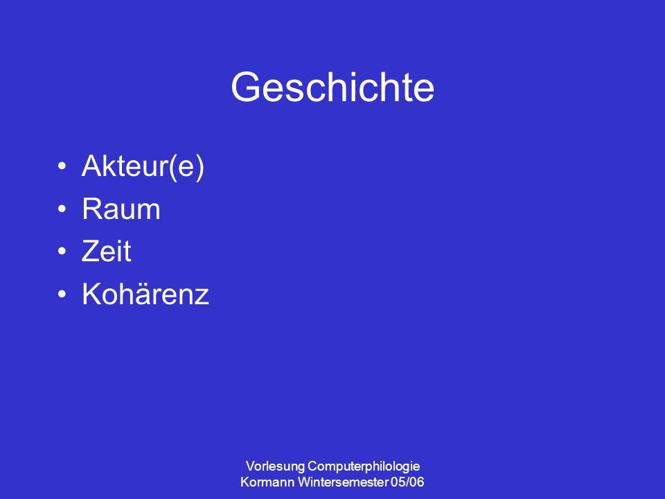 Vorlesung Computerphilologie Kormann Wintersemester 05/06 Vermittelte Darstellung Vermittelndes Kommunikationssystem Erzählerfigur: wer spricht.