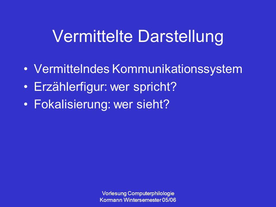 Vorlesung Computerphilologie Kormann Wintersemester 05/06 Vermittelte Darstellung Vermittelndes Kommunikationssystem Erzählerfigur: wer spricht? Fokal