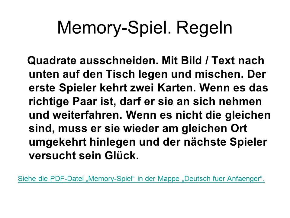 Memory-Spiel. Regeln Quadrate ausschneiden.