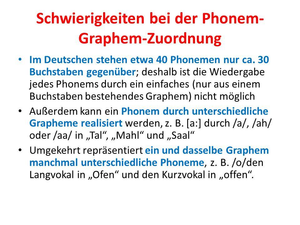 Schwierigkeiten bei der Phonem- Graphem-Zuordnung Im Deutschen stehen etwa 40 Phonemen nur ca. 30 Buchstaben gegenüber; deshalb ist die Wiedergabe jed