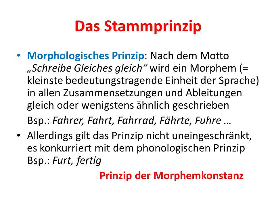 """Das Stammprinzip Morphologisches Prinzip: Nach dem Motto """"Schreibe Gleiches gleich"""" wird ein Morphem (= kleinste bedeutungstragende Einheit der Sprach"""