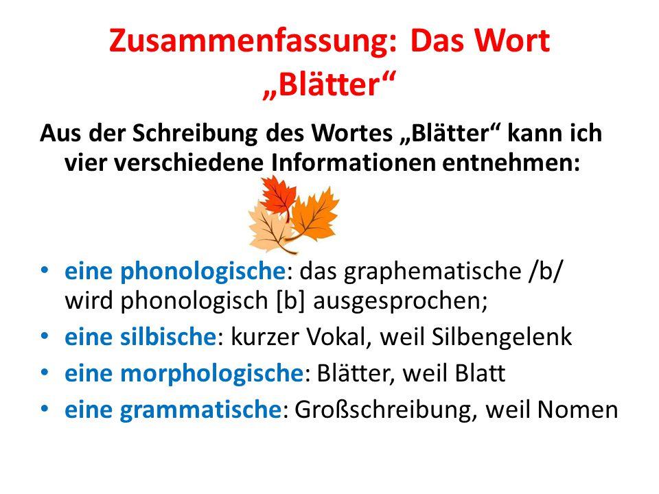 """Zusammenfassung: Das Wort """"Blätter"""" Aus der Schreibung des Wortes """"Blätter"""" kann ich vier verschiedene Informationen entnehmen: eine phonologische: da"""