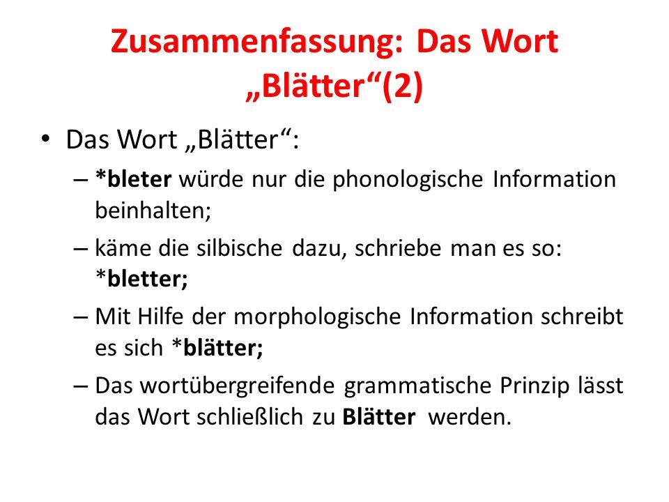 """Zusammenfassung: Das Wort """"Blätter""""(2) Das Wort """"Blätter"""": – *bleter würde nur die phonologische Information beinhalten; – käme die silbische dazu, sc"""
