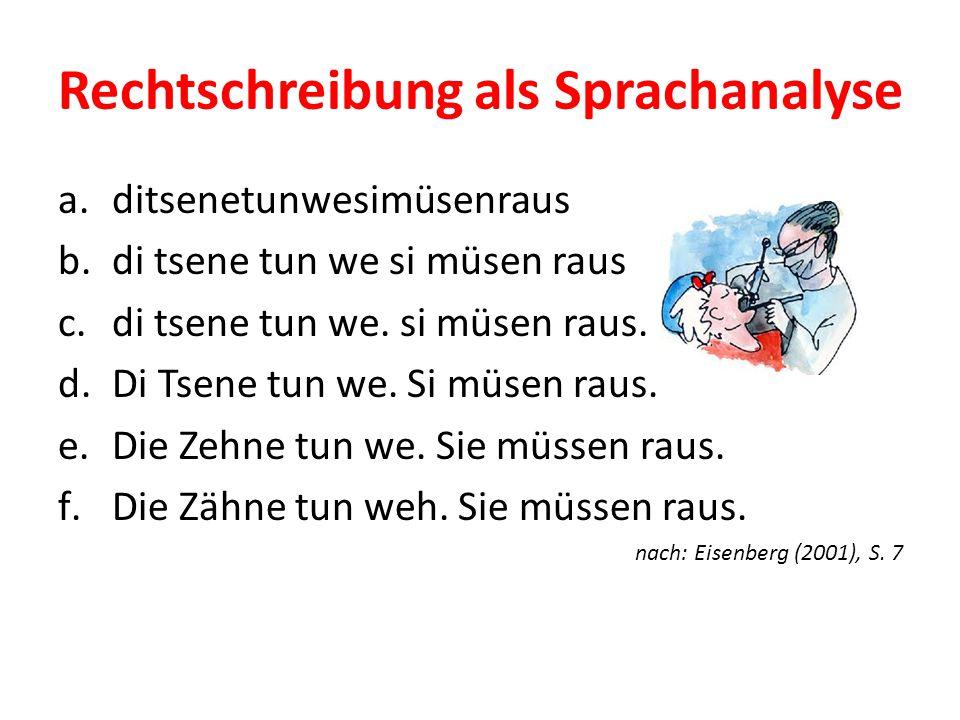 Rechtschreibung als Sprachanalyse a.ditsenetunwesimüsenraus b.di tsene tun we si müsen raus c.di tsene tun we. si müsen raus. d.Di Tsene tun we. Si mü