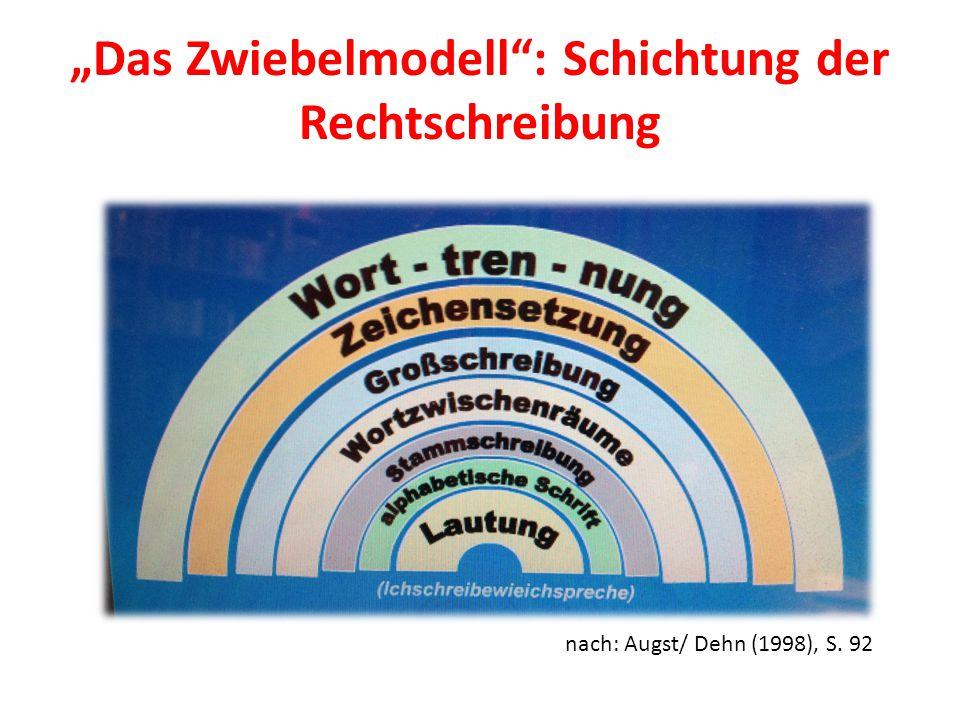 """""""Das Zwiebelmodell"""": Schichtung der Rechtschreibung nach: Augst/ Dehn (1998), S. 92"""