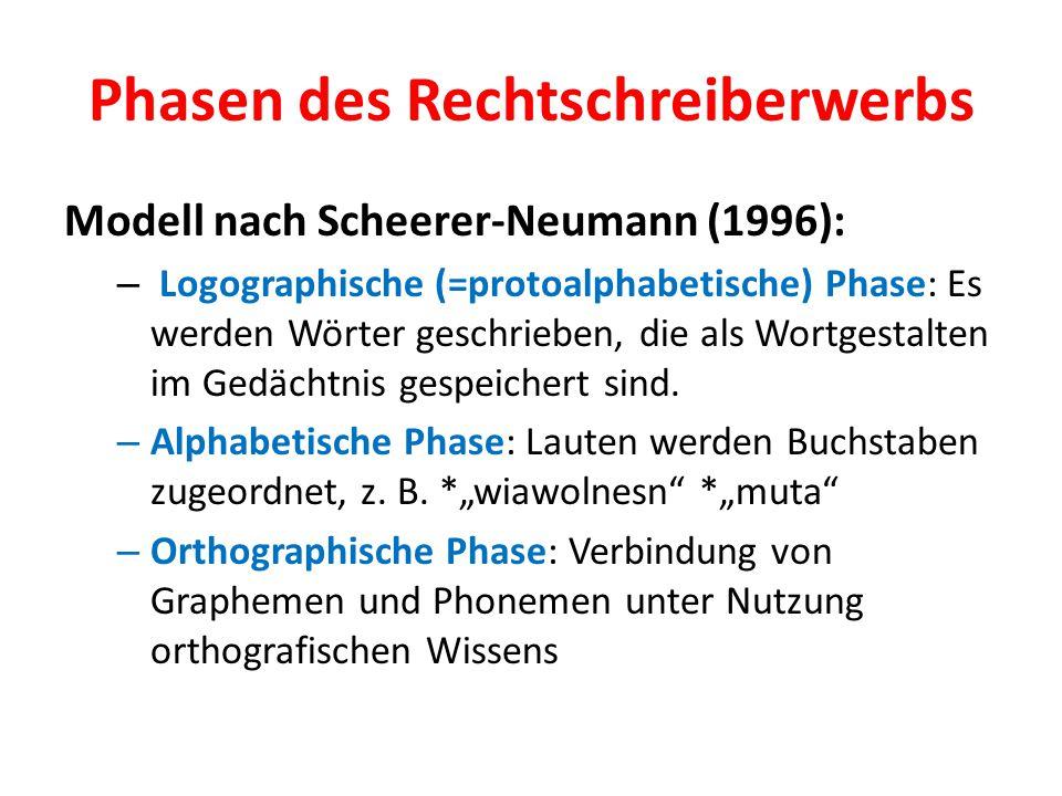 Phasen des Rechtschreiberwerbs Modell nach Scheerer-Neumann (1996): – Logographische (=protoalphabetische) Phase: Es werden Wörter geschrieben, die al