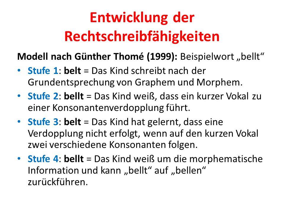 """Entwicklung der Rechtschreibfähigkeiten Modell nach Günther Thomé (1999): Beispielwort """"bellt"""" Stufe 1: belt = Das Kind schreibt nach der Grundentspre"""