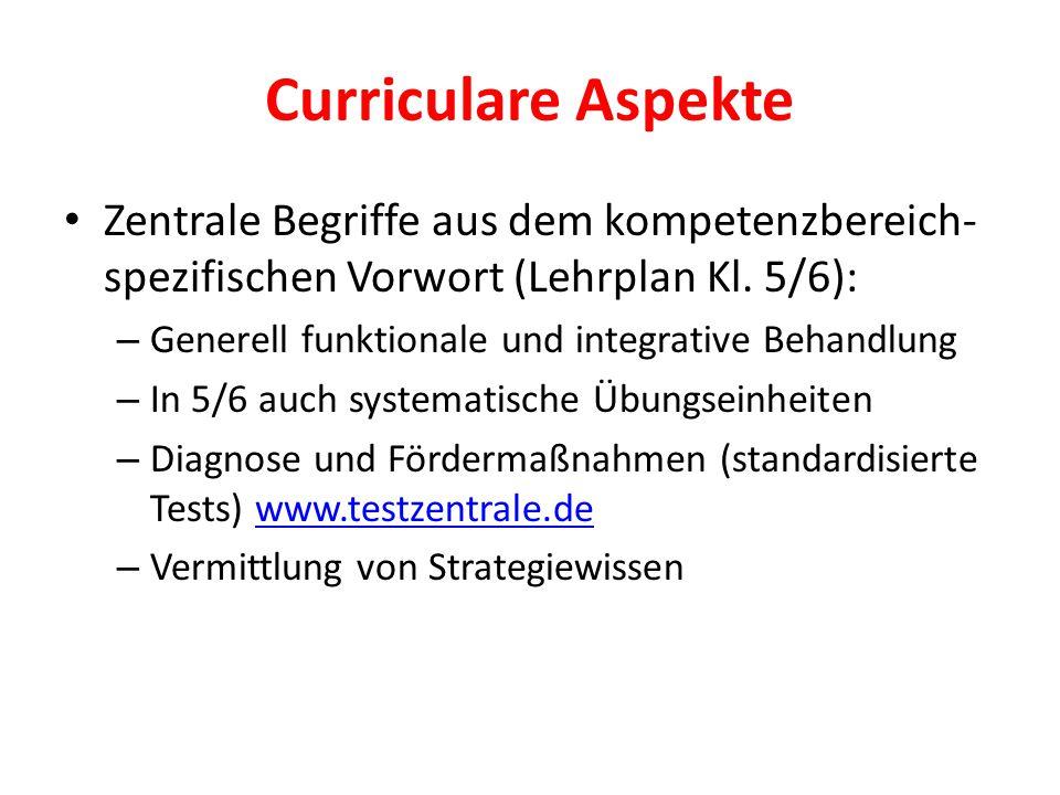 Curriculare Aspekte Zentrale Begriffe aus dem kompetenzbereich- spezifischen Vorwort (Lehrplan Kl. 5/6): – Generell funktionale und integrative Behand
