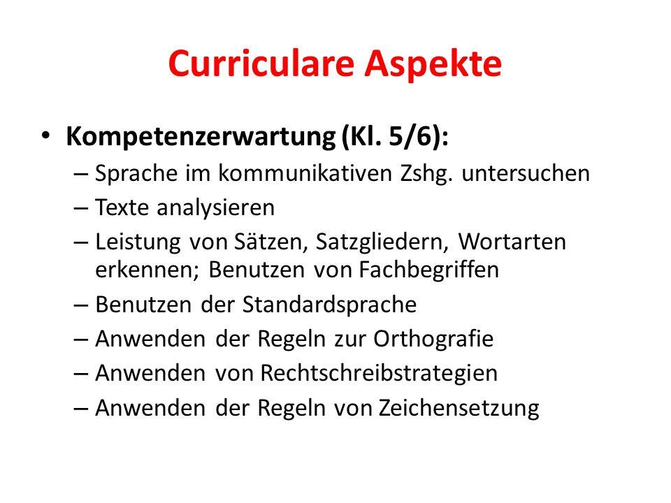 Curriculare Aspekte Kompetenzerwartung (Kl. 5/6): – Sprache im kommunikativen Zshg. untersuchen – Texte analysieren – Leistung von Sätzen, Satzglieder