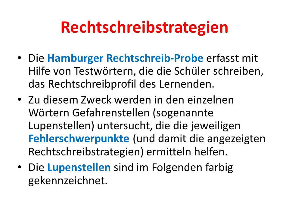 Rechtschreibstrategien Die Hamburger Rechtschreib-Probe erfasst mit Hilfe von Testwörtern, die die Schüler schreiben, das Rechtschreibprofil des Lerne