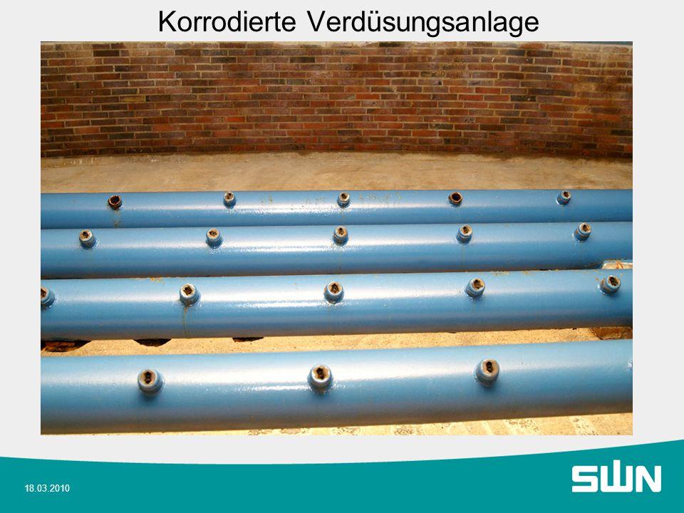 18.03.2010 Durchführung Anlagenbau Demontage alte Verdüsung und Rohre im Behälter.