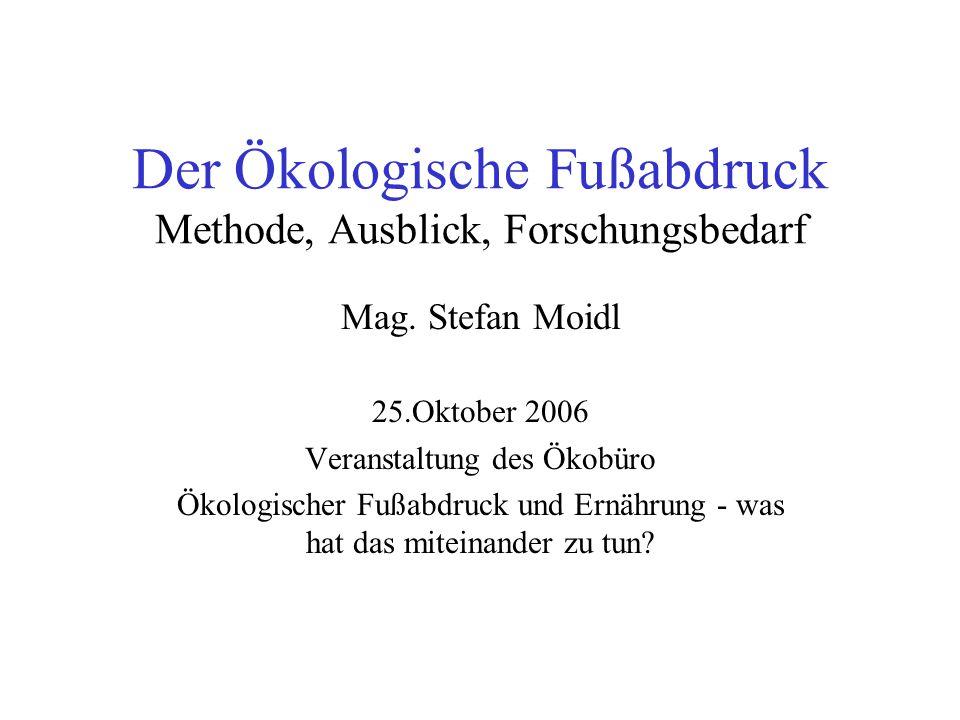 Der Ökologische Fußabdruck Methode, Ausblick, Forschungsbedarf Mag. Stefan Moidl 25.Oktober 2006 Veranstaltung des Ökobüro Ökologischer Fußabdruck und