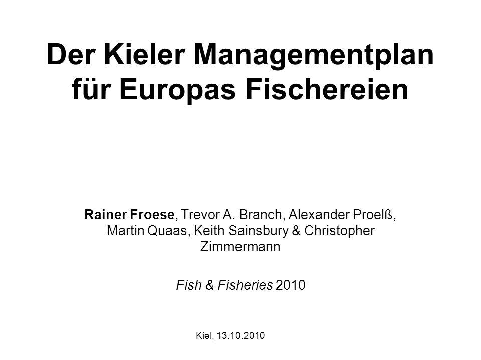 Der Kieler Managementplan für Europas Fischereien Rainer Froese, Trevor A. Branch, Alexander Proelß, Martin Quaas, Keith Sainsbury & Christopher Zimme