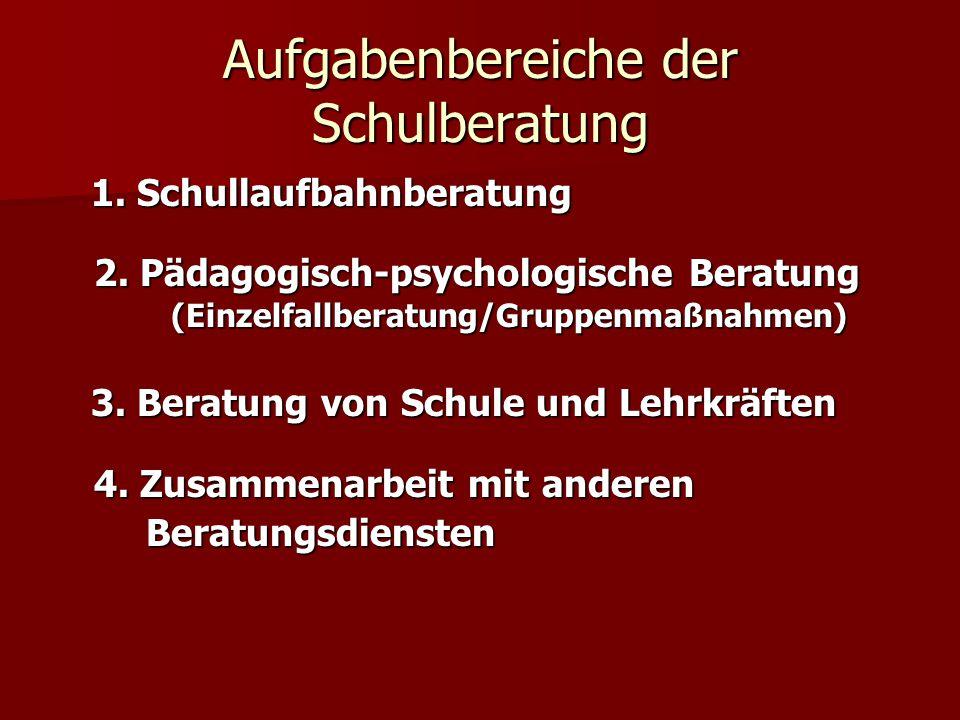 Aufgabenbereiche der Schulberatung 1. Schullaufbahnberatung 2. Pädagogisch-psychologische Beratung (Einzelfallberatung/Gruppenmaßnahmen) 1. Schullaufb