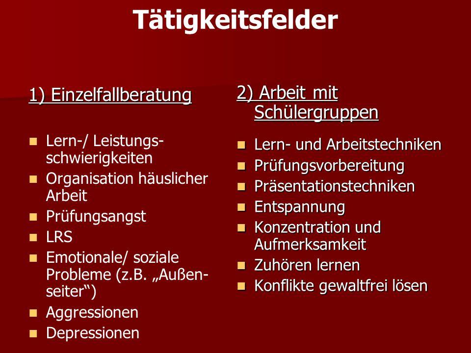 Tätigkeitsfelder 1) Einzelfallberatung Lern-/ Leistungs- schwierigkeiten Organisation häuslicher Arbeit Prüfungsangst LRS Emotionale/ soziale Probleme