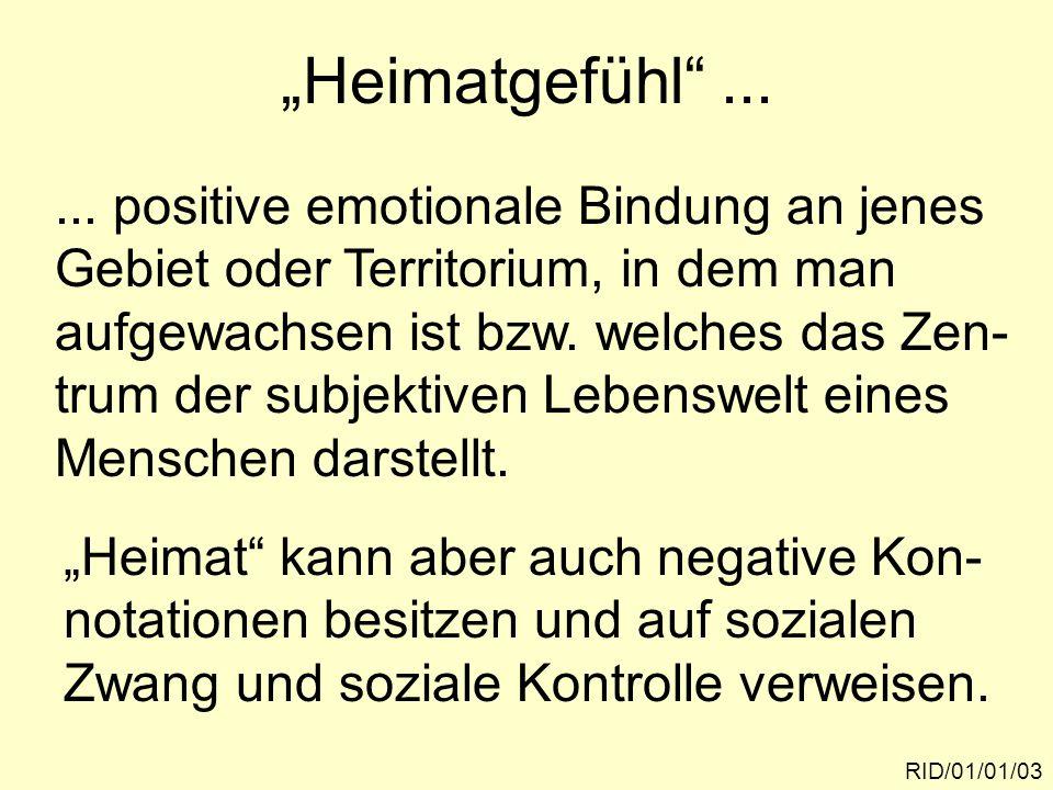 """Heimatgefühl ... RID/01/01/03..."