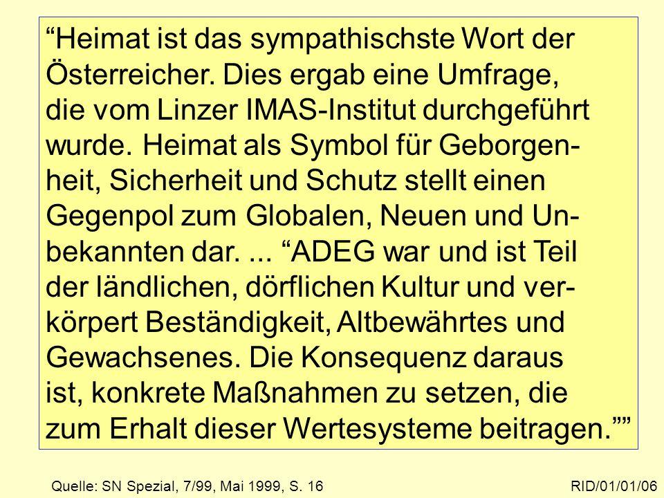 Textbeispiel RID/01/01/06 Heimat ist das sympathischste Wort der Österreicher.