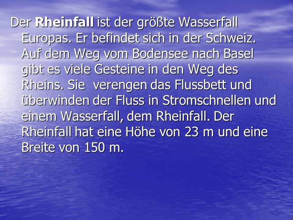 Der Rheinfall ist der größte Wasserfall Europas. Er befindet sich in der Schweiz. Auf dem Weg vom Bodensee nach Basel gibt es viele Gesteine in den We