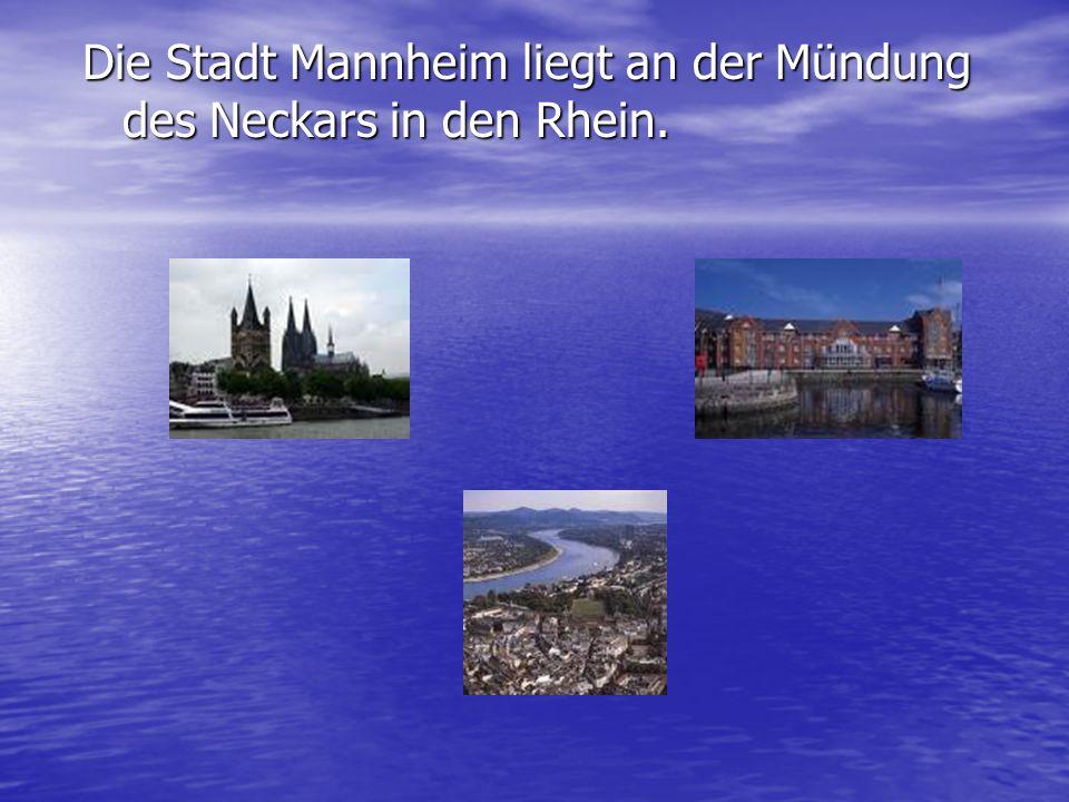 Die Stadt Mannheim liegt an der Mündung des Neckars in den Rhein.