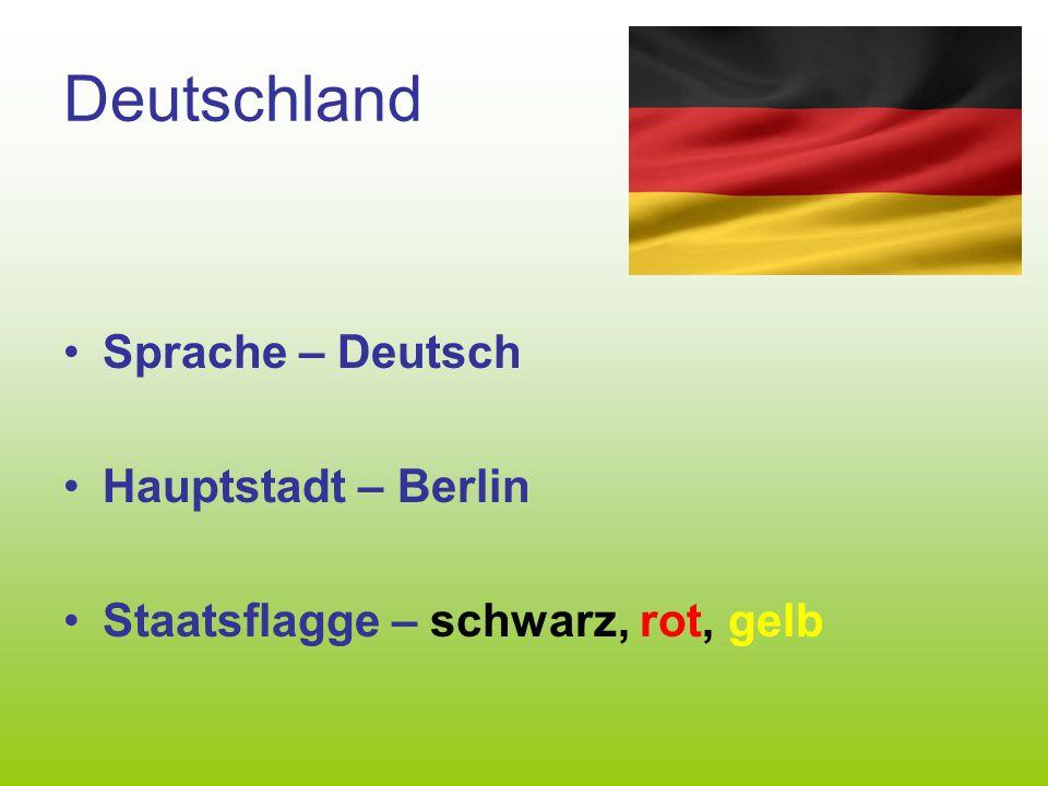 Deutschland Sprache – Deutsch Hauptstadt – Berlin Staatsflagge – schwarz, rot, gelb