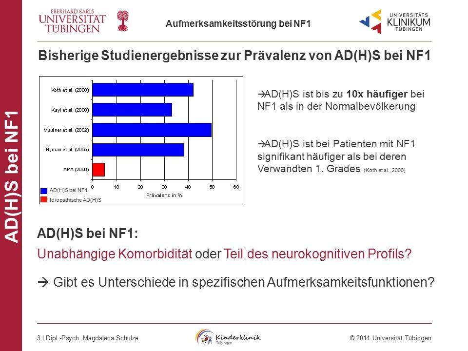 Aufmerksamkeitsstörung bei NF1 3 | Dipl.-Psych. Magdalena Schulze © 2014 Universität Tübingen AD(H)S bei NF1 AD(H)S bei NF1: Unabhängige Komorbidität